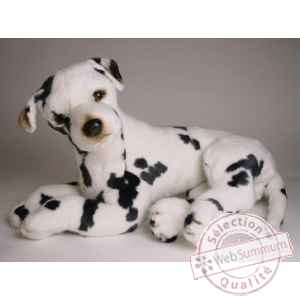 Peluche allongee Grand Danois Harlequin 45 cm Piutre -3265