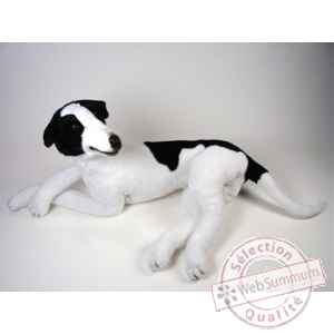 Peluche allongee Levrier greyhound 75 cm Piutre -3230