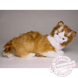 Peluche allongee chat maine coon 30 cm Piutre -2382