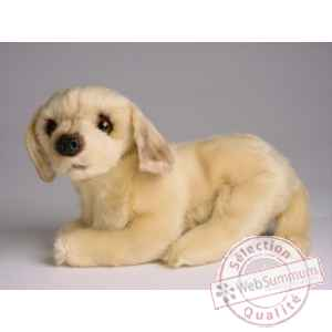Peluche allongee mascotte golden retriever 20 cm Piutre -4248