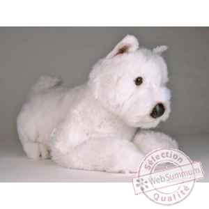 Peluche allongee west higland scottish terrier 45 cm Piutre -2276