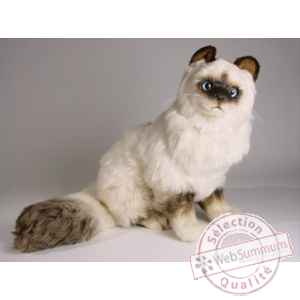 Peluche assise chat birman 50 cm Piutre -2311
