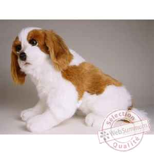 Peluche assise Epagneul Cavalier king charles  45 cm Piutre -1292