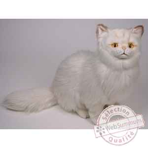 Peluche assise chat persan chinchilla beige 50 cm Piutre -2305