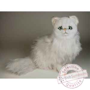 Peluche assise chat persan chinchilla blanc 50 cm Piutre -2300