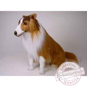 Peluche assise collie 65 cm Piutre -1273