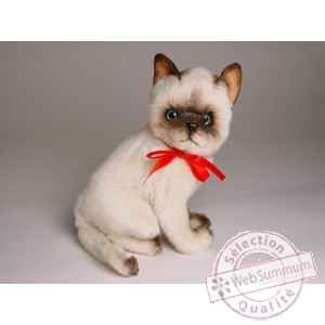 Peluche assise chat siamois 30 cm Piutre -2322