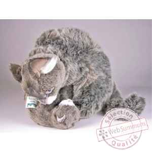 Peluche assise chat soriano avec chaton 38 cm Piutre -318