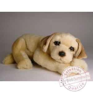 Peluche allongee golden retriever 30 cm Piutre -2209