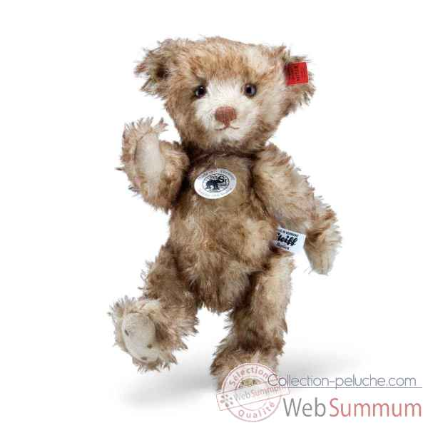 Ours en peluche teddy little happy teddy bear replica 1926, brown tipped steiff -403217