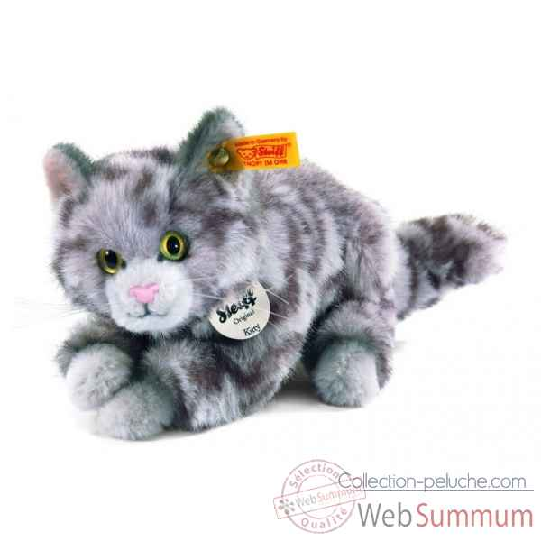 Peluche steiff chat kitty, gris mouchete -099397