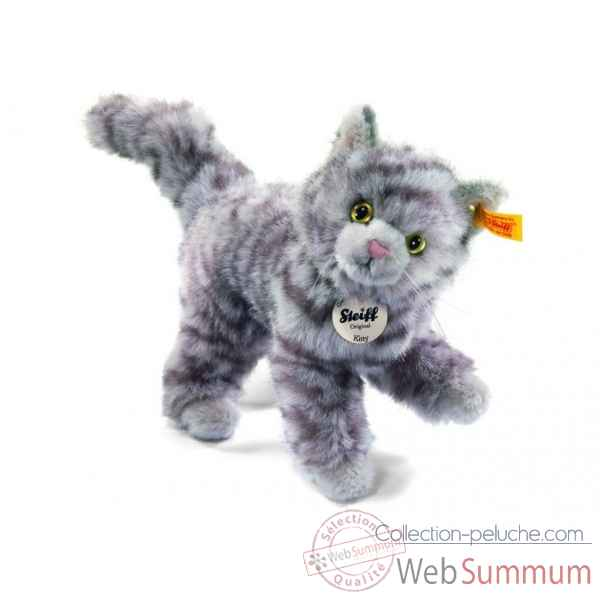 Peluche steiff chat kitty, gris mouchete -099410