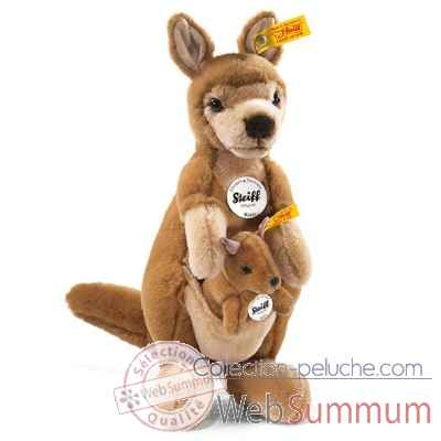Peluche steiff kangourou wally avec bebe kangourou willy, brun clair -064630