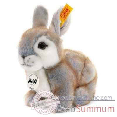 Peluche steiff lapin happy, gris chine -080036