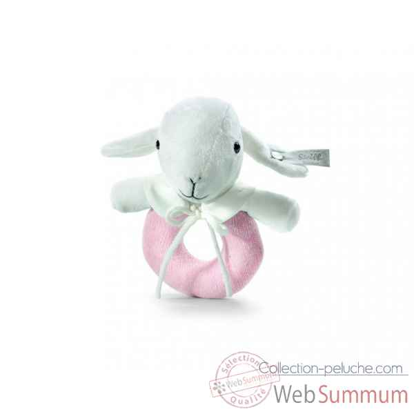 Peluche steiff selection agneau anneau de prehension, rose -239076