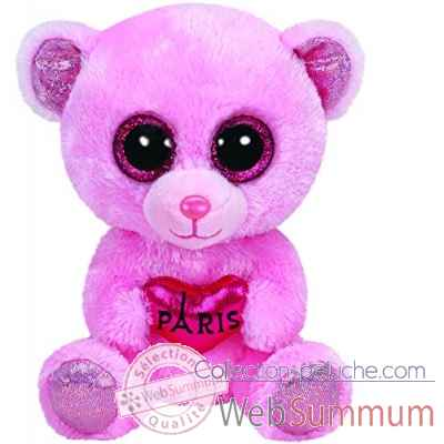 "Peluche Beanie boo\\'s small - city bear \""paris\\\"" -TY36142"