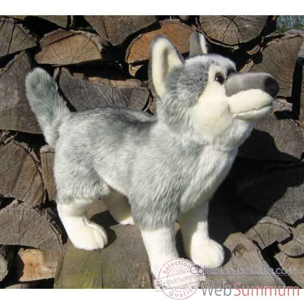 Peluche loup gris 40cm (long)  Ushuaia Junior 705