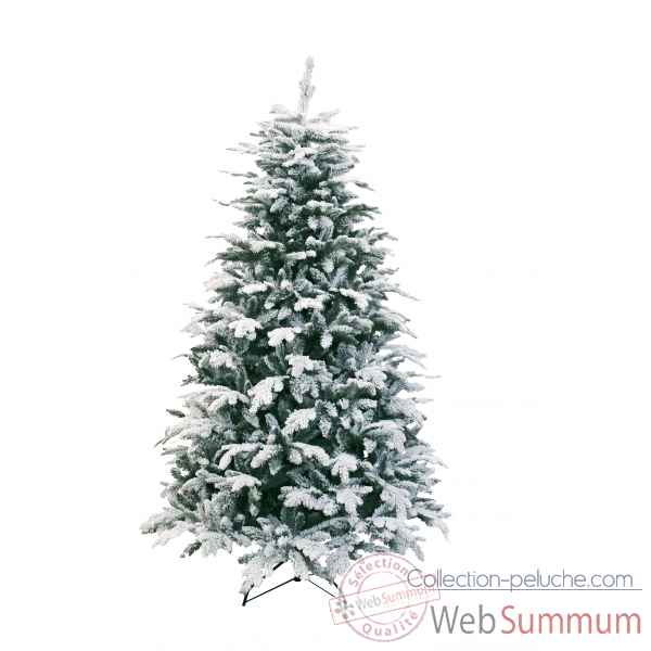 Sapin oslo snow pine hook on flocked white h180cm Van der Gucht -31OSL180
